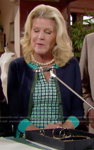 Pam's green and navy checked dress on The Bold and the Beautiful