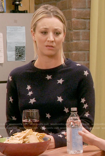 Penny's navy star print sweater on The Big Bang Theory