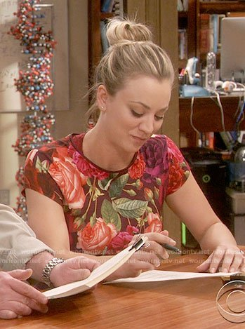 Penny's rose print top on The Big Bang Theory