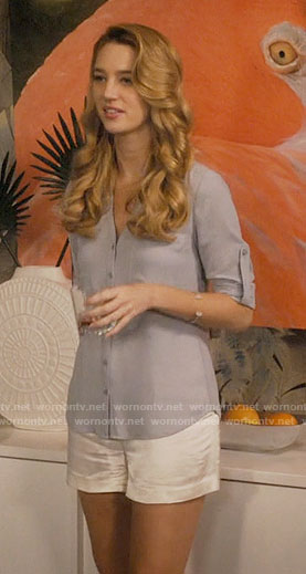Petra's blue-grey button down top on Jane the Virgin