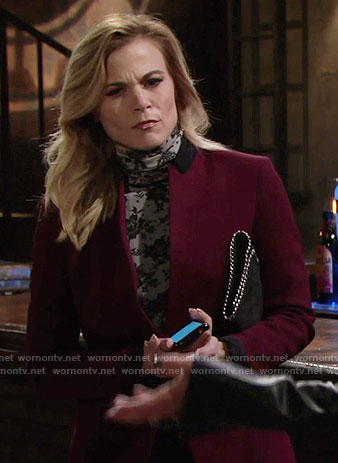 Phyllis's lace print turtleneck top and burgundy blazer on The Young and the Restless
