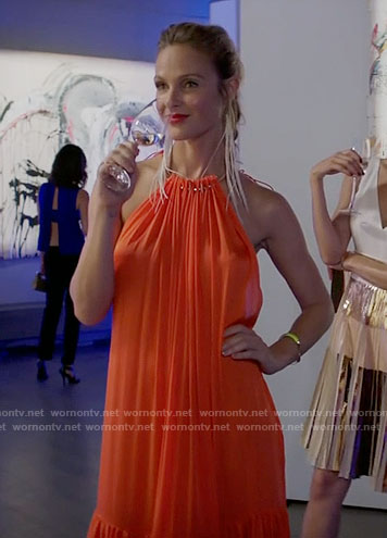 Phoebe's orange halter neck maxi dress on Girlfriends Guide to Divorce