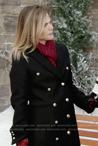 Phyllis's black coat with gold buttons on The Young and the Restless