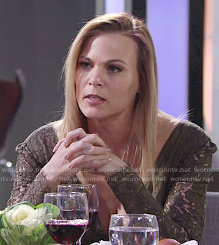 Phyllis's khaki lace dress on The Young and the Restless