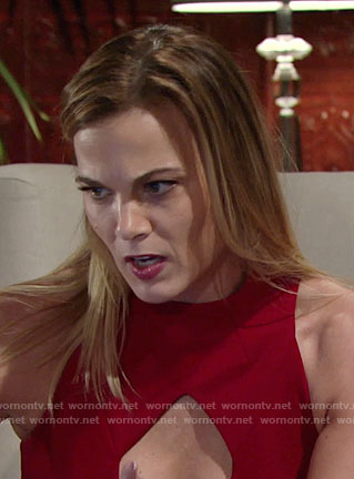 Phyllis's red keyhole cutout dress on The Young and the Restless