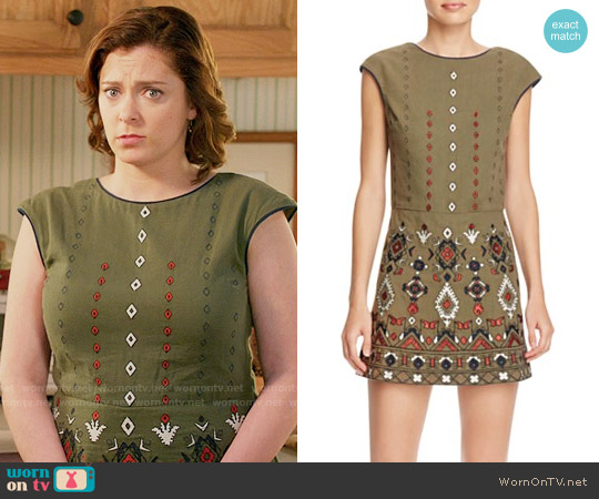 Piper Embroidered Skirted Romper worn by Rebecca Bunch (Rachel Bloom) on Crazy Ex-Girlfriend