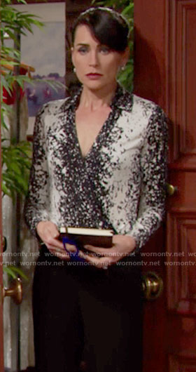 Quinn's black and white splatter printed wrap top on The Bold and the Beautiful