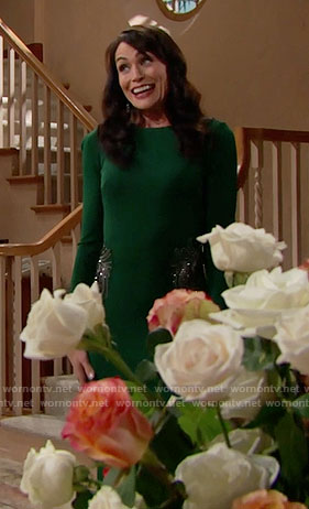 Quinn's green long sleeved gown on The Bold and the Beautiful
