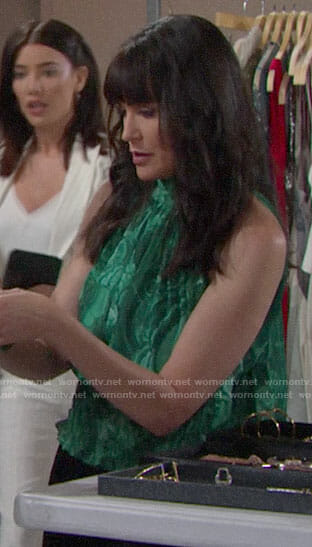 Quinn's green high neck top on The Bold and the Beautiful