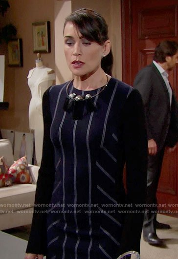 Quinn's navy striped dress on The Bold and the Beautiful
