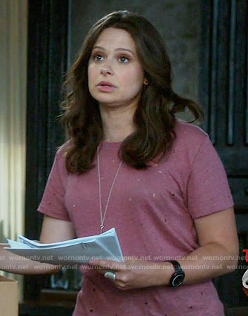 Quinn's pink distressed t-shirt on Scandal