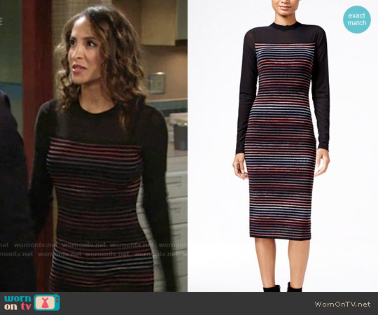 RACHEL Rachel Roy Illusion Striped Midi Sweater Dress worn by Christel Khalil on The Young & the Restless