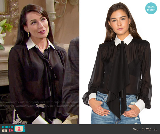 Rachel Zoe Bex Silk Blouse worn by Rena Sofer on The Bold & the Beautiful