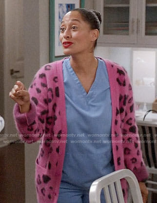 Rainbow's pink leopard print cardigan on Black-ish