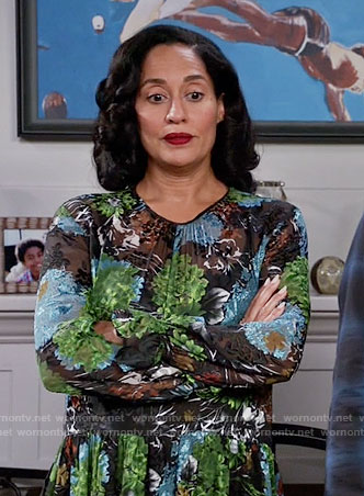 Rainbow's blue and green floral midi dress on Black-ish