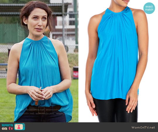 Ramy Brook Paris Top in Breeze Blue worn by Lisa Edelstein on GG2D