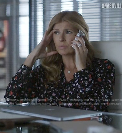 Rayna's black floral shirt on Nashville