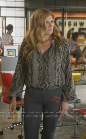Rayna's zip front snake print blouse on Nashville
