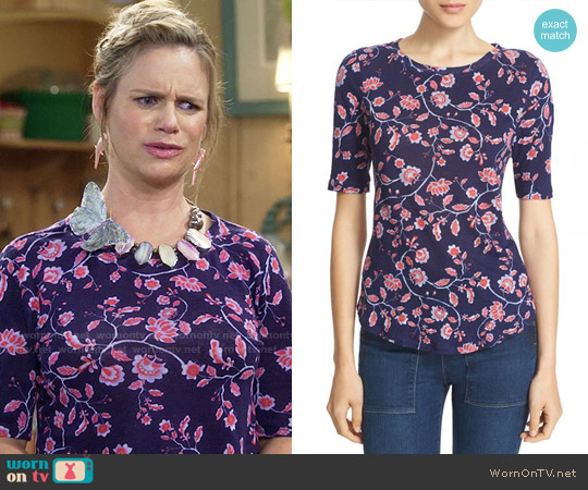 Rebecca Taylor 'Kyoto Floral' Print Linen Knit Tee worn by Andrea Barber on Fuller House