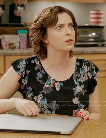 Rebecca's black floral top on Crazy Ex-Girlfriend