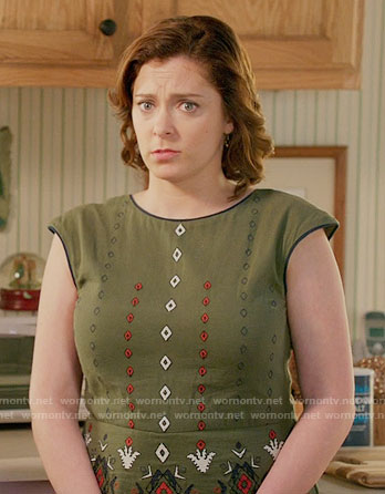 Rebecca's green embroidered dress on Crazy Ex-Girlfriend