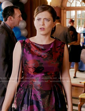 Rebecca's purple jacquard dress on Crazy Ex-Girlfriend