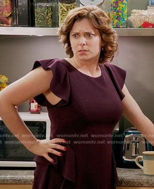 Rebecca's purple ruffle sleeve dress on Crazy Ex-Girlfriend