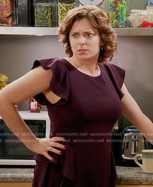 Rebecca's purple ruffle sleeve dress on Crazy Ex-Girlfriend