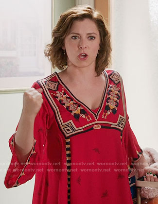 Rebecca's red embroidered dress on Crazy Ex-Girlfriend