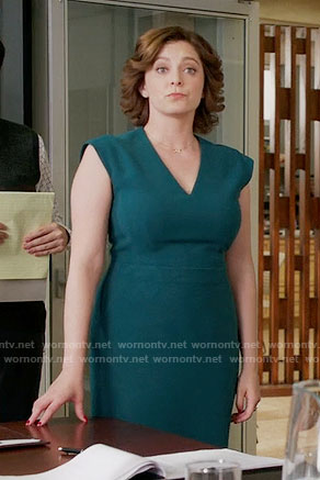 Rebecca's teal v-neck sheath dress on Crazy Ex-Girlfriend
