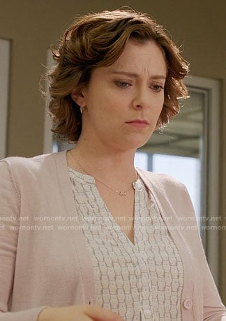 Rebecca's white owl print top on Crazy Ex-Girlfriend
