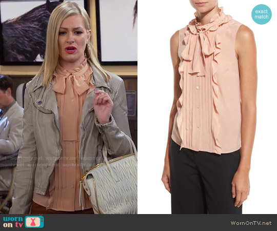 RED Valentino Sleeveless Pintucked & Ruffled Tie-Neck Silk Blouse worn by Beth Behrs on 2 Broke Girls
