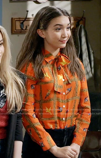 Riley's orange bird print blouse on Girl Meets World