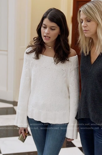 Sabrina's white off-shoulder sweater on The Mick