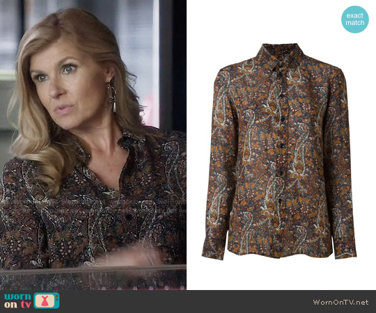 Saint Laurent Paisley Print Shirt worn by Rayna Jaymes (Connie Britton) on Nashville