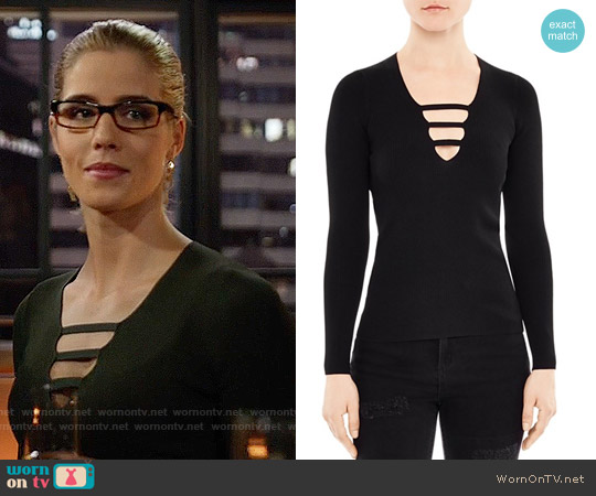 Sandro Adam Cutout Sweater worn by Felicity Smoak (Emily Bett Rickards) on Arrow