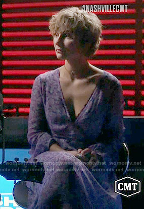 Scarlett's purple floral maxi dress on Nashville