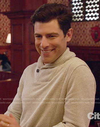 Schmidt's herringbone sweater on New Girl