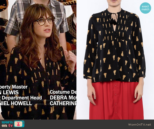 Sea Silk Leopard Blouse worn by Zooey Deschanel on New Girl