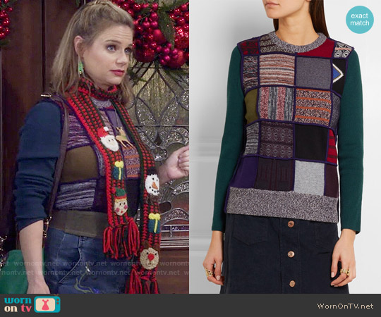 See by Chloe Patchwork Knitted Sweater worn by Andrea Barber on Fuller House