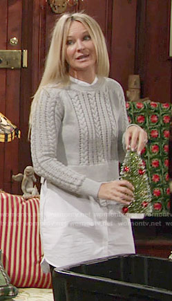 Sharon's layered cable knit sweater on The Young and the Restless
