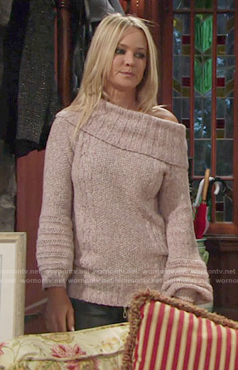 Sharon's off-shoulder sweater on The Young and the Restless