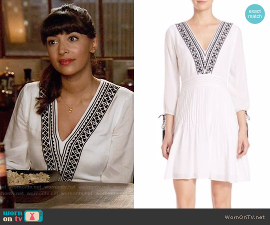 Shoshanna Embroidered Fit & Flare Dress worn by Hannah Simone on New Girl