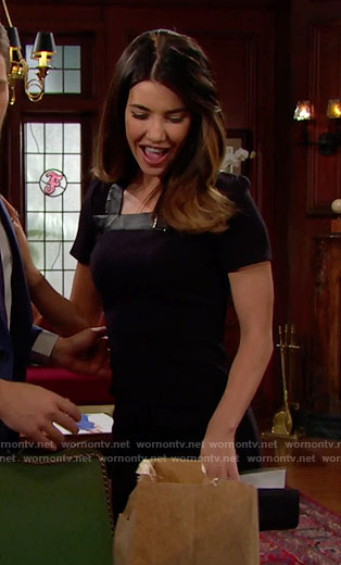 Steffy's black short sleeve dress with leather trim and buckle on The Bold and the Beautiful