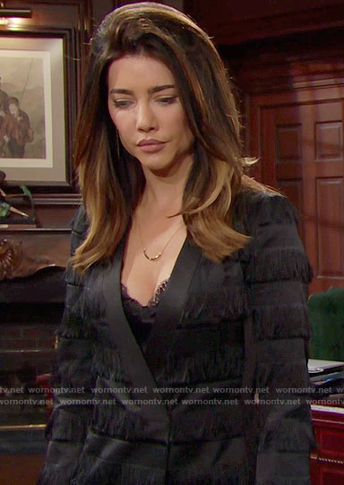 Steffy's black fringed jacket dress on The Bold and the Beautiful