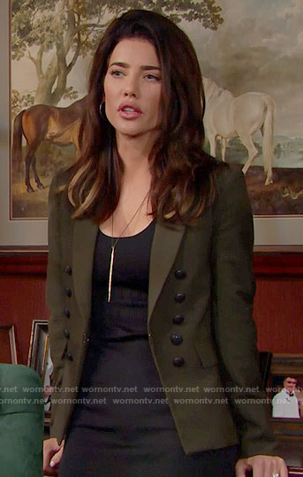 Steffy's olive green blazer on The Bold and the Beautiful