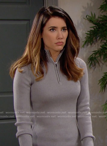 Steffy's grey zip-neck sweater with studded collar on The Bold and the Beautiful