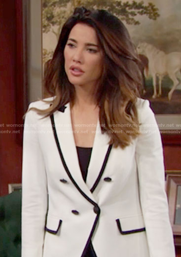 Steffy's white blazer with black trim on The Bold and the Beautiful