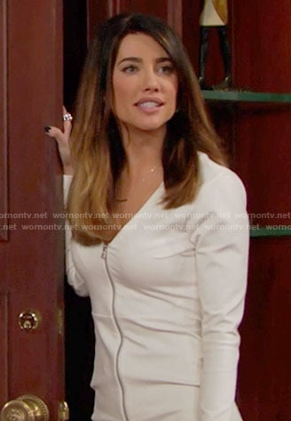 Steffy's white zip-front dress on The Bold and the Beautiful