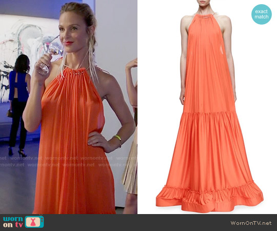 Stella McCartney Plisse Full-Skirt Halter Gown worn by Beau Garrett on GG2D